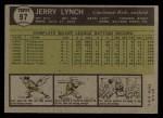 1961 Topps #97  Jerry Lynch  Back Thumbnail