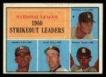 1961 Topps #49  1960 NL Strikeout Leaders  -  Don Drysdale / Sandy Koufax / Ernie Broglio / Sam Jones Front Thumbnail