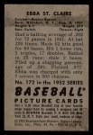 1952 Bowman #172  Ebba St Claire  Back Thumbnail