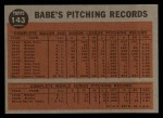 1962 Topps #143 A Greatest Sports Hero  -  Babe Ruth Back Thumbnail