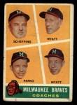 1960 Topps #464  Braves Coaches  -  Bob Scheffing / Whitlow Wyatt / Andy Pafko / George Myatt Front Thumbnail