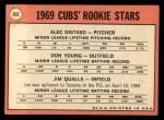 1969 Topps #602 ERR Cubs Rookies  -  Alec Distaso / Don Young / Jim Qualls  Back Thumbnail