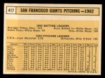 1963 Topps #417  Giants Team  Back Thumbnail