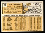 1963 Topps #492   Dave Wickersham Back Thumbnail