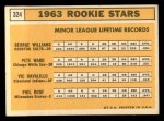 1963 Topps #324   Rookie Stars    -  George Williams / Pete Ward / Vic Davalillo / Phil Roof Back Thumbnail