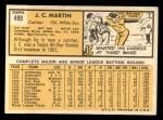 1963 Topps #499  J.C. Martin  Back Thumbnail