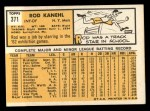 1963 Topps #371   Rod Kanehl Back Thumbnail
