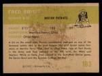 1961 Fleer #183   Fred Bruney Back Thumbnail