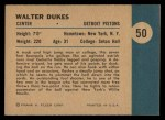 1961 Fleer #50   Walter Dukes Back Thumbnail