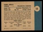 1961 Fleer #14  Tom Gola  Back Thumbnail