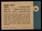 1961 Fleer #66  Jerry West  Back Thumbnail
