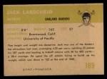 1961 Fleer #189  Jack Larsheid  Back Thumbnail