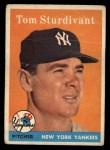 1958 Topps #127   Tom Sturdivant Front Thumbnail