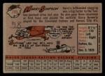 1958 Topps #299   Harry Simpson Back Thumbnail