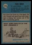 1964 Philadelphia #172   Ken Gray  Back Thumbnail