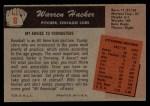 1955 Bowman #8   Warren Hacker Back Thumbnail