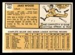 1963 Topps #453   Jake Wood Back Thumbnail