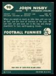 1960 Topps #98   John Nisby Back Thumbnail