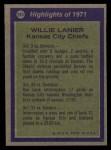 1972 Topps #283   -  Willie Lanier All-Pro Back Thumbnail