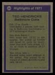 1972 Topps #281  All-Pro  -  Ted Hendricks Back Thumbnail