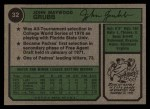 1974 Topps #32 WASH Johnny Grubb  Back Thumbnail