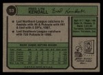 1974 Topps #53 WASH Fred Kendall  Back Thumbnail