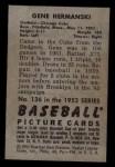 1952 Bowman #136   Gene Hermanski Back Thumbnail
