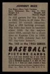 1952 Bowman #145   Johnny Mize Back Thumbnail