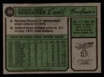 1974 Topps #33   Don Newhauser Back Thumbnail