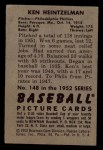 1952 Bowman #148   Ken Heintzelman Back Thumbnail