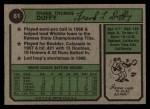 1974 Topps #81   Frank Duffy Back Thumbnail