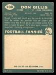 1960 Topps #108   Don Gillis Back Thumbnail