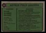 1974 Topps #31  Astros Leaders  -  Preston Gomez / Roger Craig / Grady Hatton / Hub Kittle / Bob Lillis Back Thumbnail