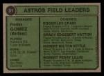 1974 Topps #31  Astros Leaders  -  Preston Gomez / Roger Craig / Grady Hatton / Hub Kittle / Bob Lillis Back Thumbnail