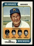1974 Topps #99  Brewers Field Leaders  -  Del Crandall / Harvey Kuenn / Joe Nossek / Jim Walton / Al Widmar Front Thumbnail