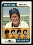 1974 Topps #99  Brewers Leaders  -  Del Crandall / Harvey Kuenn / Joe Nossek / Jim Walton / Al Widmar Front Thumbnail