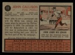 1962 Topps #17   Johnny Callison Back Thumbnail
