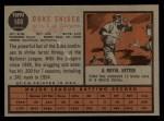 1962 Topps #500   Duke Snider Back Thumbnail