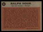 1962 Topps #88   Ralph Houk Back Thumbnail
