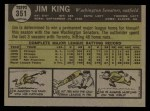 1961 Topps #351   Jim King Back Thumbnail