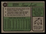 1974 Topps #27   George Scott Back Thumbnail