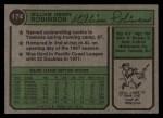 1974 Topps #174   Bill Robinson Back Thumbnail