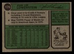 1974 Topps #176   John Lowenstein Back Thumbnail