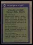 1972 Topps #283  All-Pro  -  Willie Lanier Back Thumbnail