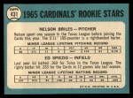 1965 Topps #431  Cardinals Rookies  -  Nelson Briles / Wayne Spiezo Back Thumbnail