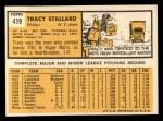 1963 Topps #419   Tracy Stallard Back Thumbnail
