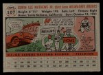 1956 Topps #107  Eddie Mathews  Back Thumbnail