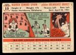 1956 Topps #10   Warren Spahn Back Thumbnail