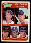 1965 O-Pee-Chee #9   -  Wally Bunker / Dean Chance / Gary Peters / Juan Pizarro / Dave Wickersham AL Pitching Leaders Front Thumbnail