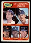 1965 O-Pee-Chee #9  AL Pitching Leaders  -  Wally Bunker / Dean Chance / Gary Peters / Juan Pizarro / Dave Wickersham Front Thumbnail